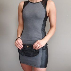 Divided Bodycon Dress Mesh Shoulders Leather Sides
